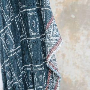 Ecote Jackets & Coats - Ecote Turquoise Patterned Shaw